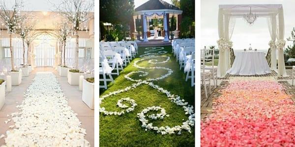 tappeto di petali decorazione per cerimonia matrimonio primaverile