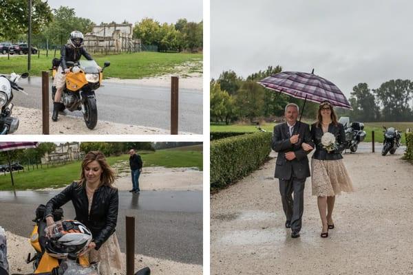 arrivo della sposa in moto